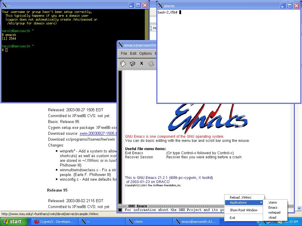 Windows10up.com Download Free Cygwin X running in Multi-Window mode showing the Tray Menu written by